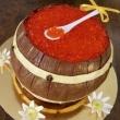Торт катомка с красной икрой